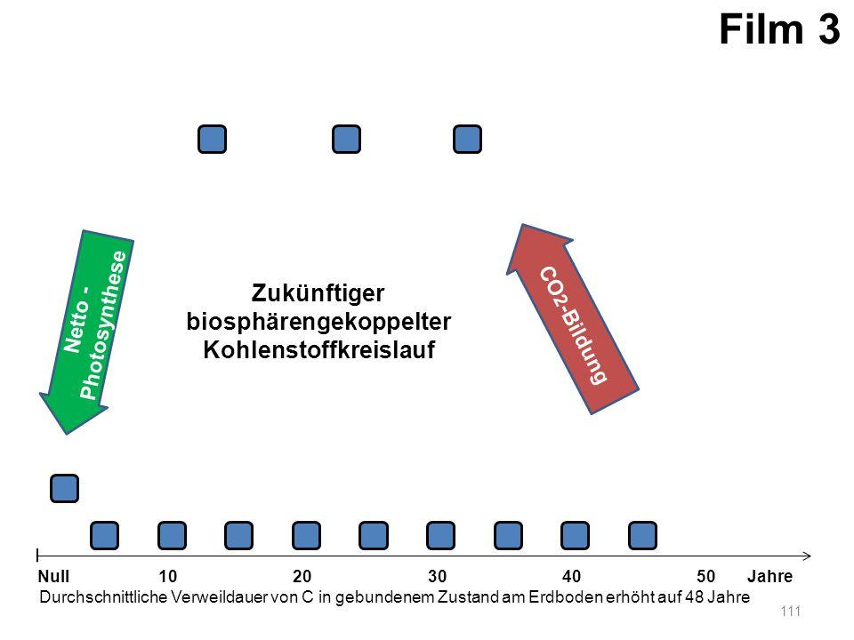 Netto - Photosynthese 111 1020304050 Jahre Durchschnittliche Verweildauer von C in gebundenem Zustand am Erdboden erhöht auf 48 Jahre Null CO 2 -Bildu
