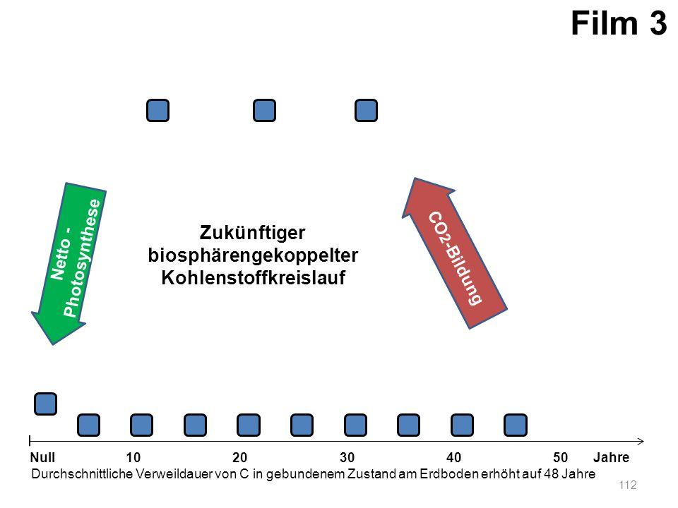 Netto - Photosynthese 112 1020304050 Jahre Durchschnittliche Verweildauer von C in gebundenem Zustand am Erdboden erhöht auf 48 Jahre Null CO 2 -Bildu
