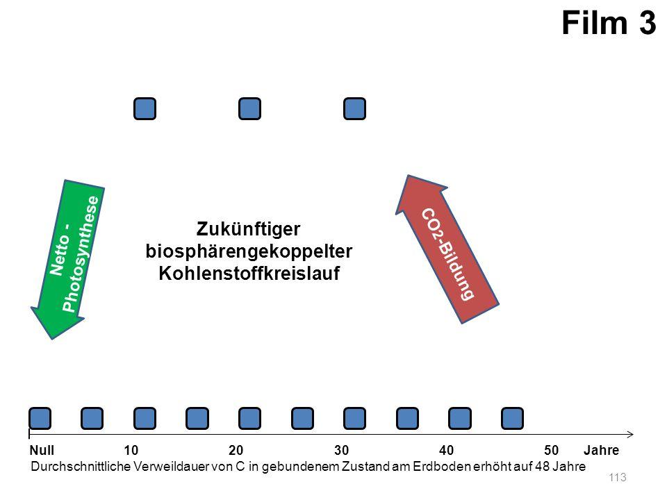 Netto - Photosynthese 113 1020304050 Jahre Durchschnittliche Verweildauer von C in gebundenem Zustand am Erdboden erhöht auf 48 Jahre Null CO 2 -Bildu