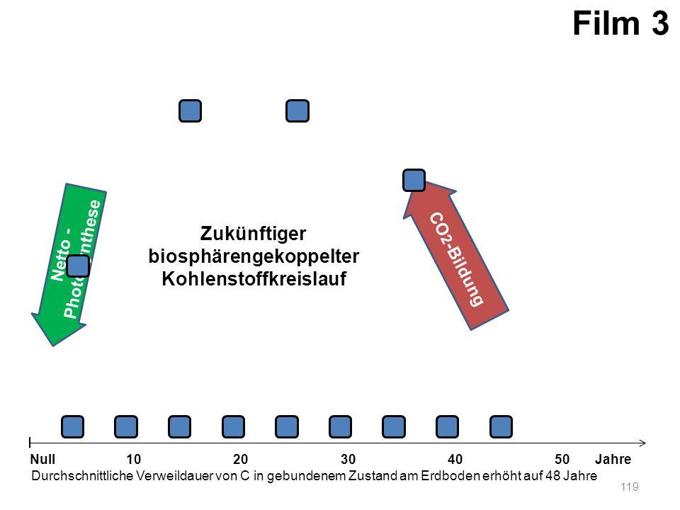 Netto - Photosynthese 119 1020304050 Jahre Durchschnittliche Verweildauer von C in gebundenem Zustand am Erdboden erhöht auf 48 Jahre Null CO 2 -Bildu