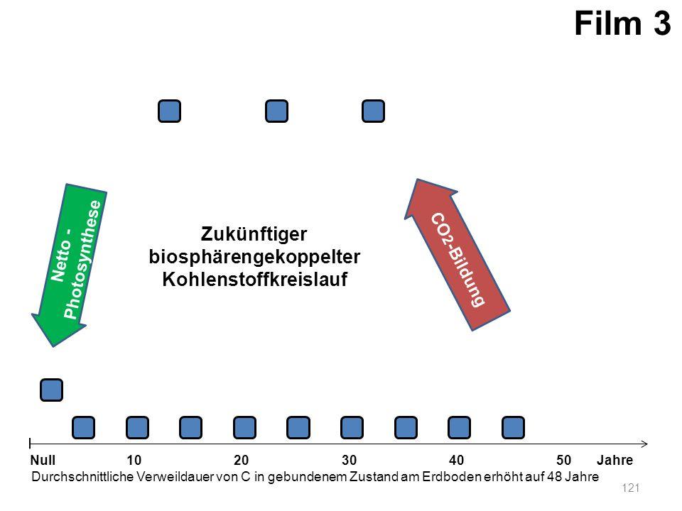 Netto - Photosynthese 121 1020304050 Jahre Durchschnittliche Verweildauer von C in gebundenem Zustand am Erdboden erhöht auf 48 Jahre Null CO 2 -Bildu