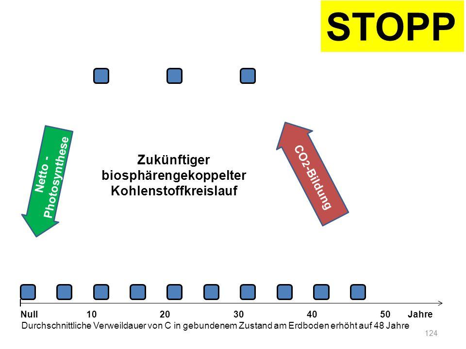 Netto - Photosynthese 124 1020304050 Jahre Durchschnittliche Verweildauer von C in gebundenem Zustand am Erdboden erhöht auf 48 Jahre Null CO 2 -Bildu