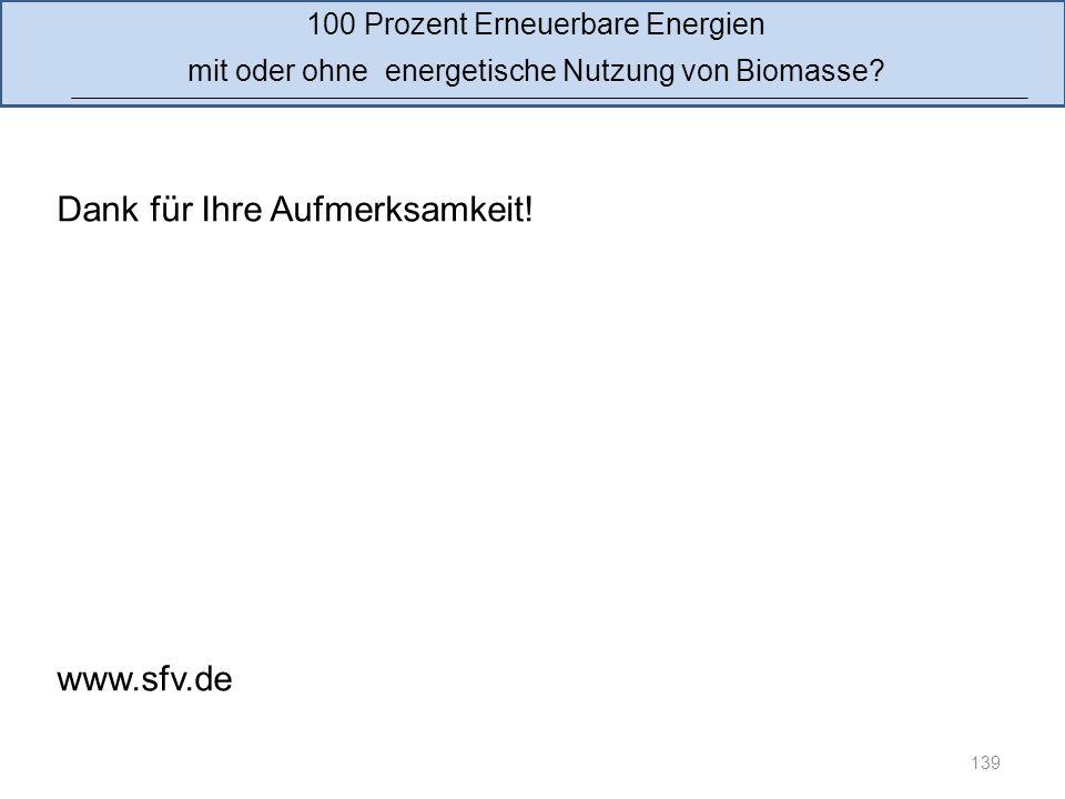 139 100 Prozent Erneuerbare Energien mit oder ohne energetische Nutzung von Biomasse? Dank für Ihre Aufmerksamkeit! www.sfv.de