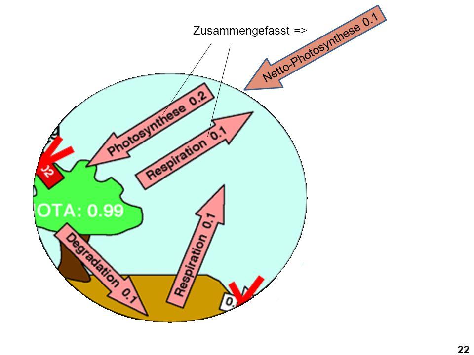 22 Zusammengefasst => Netto-Photosynthese 0.1