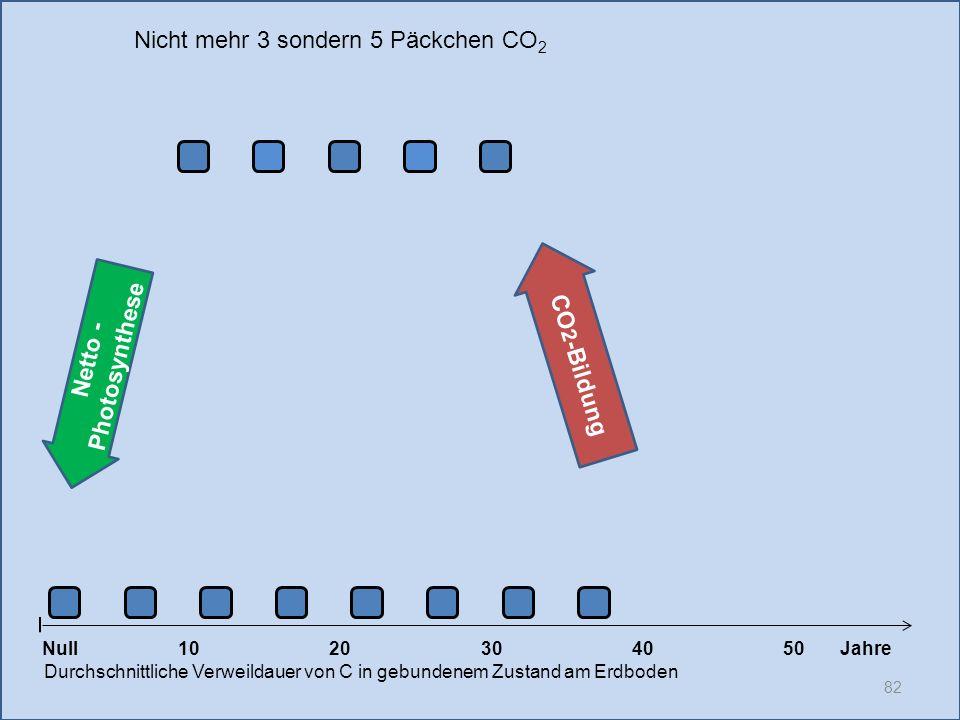 82 1020304050 Jahre Durchschnittliche Verweildauer von C in gebundenem Zustand am Erdboden CO 2 -Bildung Null Netto - Photosynthese Nicht mehr 3 sonde