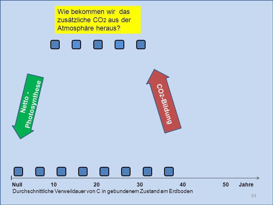 84 1020304050 Jahre Durchschnittliche Verweildauer von C in gebundenem Zustand am Erdboden CO 2 -Bildung Null Netto - Photosynthese Wie bekommen wir d