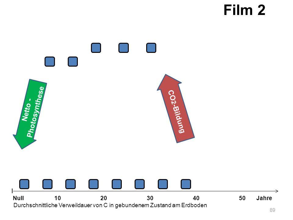 89 1020304050 Jahre Durchschnittliche Verweildauer von C in gebundenem Zustand am Erdboden Null Netto - Photosynthese CO 2 -Bildung Film 2