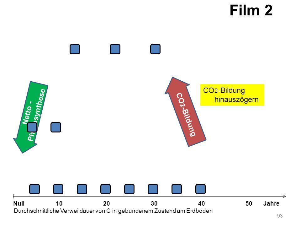 Netto - Photosynthese 93 1020304050 Jahre Durchschnittliche Verweildauer von C in gebundenem Zustand am Erdboden Null CO 2 -Bildung Film 2 CO 2 -Bildu