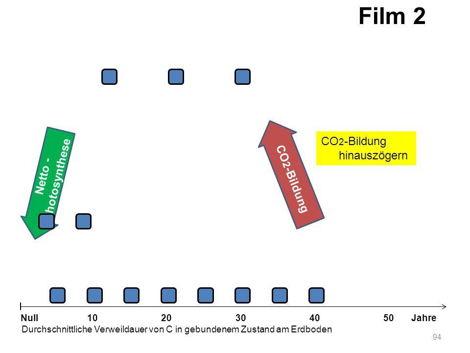 Netto - Photosynthese 94 1020304050 Jahre Durchschnittliche Verweildauer von C in gebundenem Zustand am Erdboden Null CO 2 -Bildung Film 2 CO 2 -Bildu