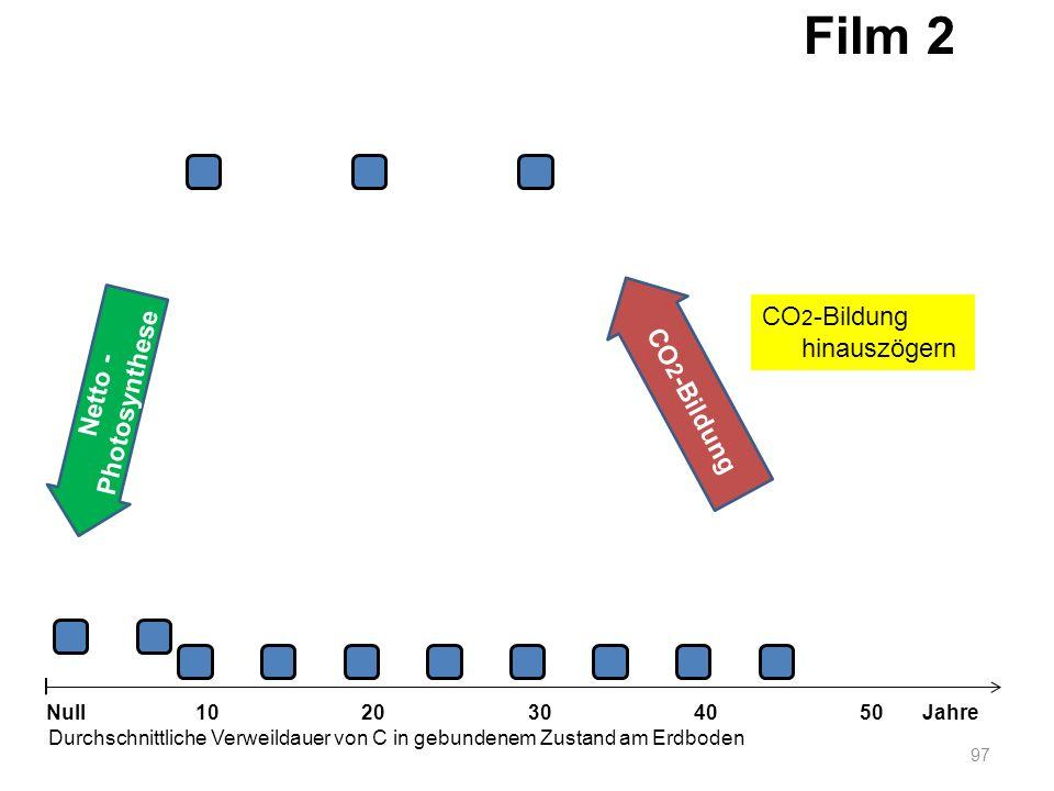 Netto - Photosynthese 97 1020304050 Jahre Durchschnittliche Verweildauer von C in gebundenem Zustand am Erdboden Null CO 2 -Bildung Film 2 CO 2 -Bildu