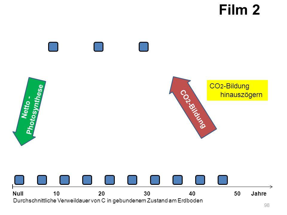 Netto - Photosynthese 98 1020304050 Jahre Durchschnittliche Verweildauer von C in gebundenem Zustand am Erdboden Null CO 2 -Bildung Film 2 CO 2 -Bildu