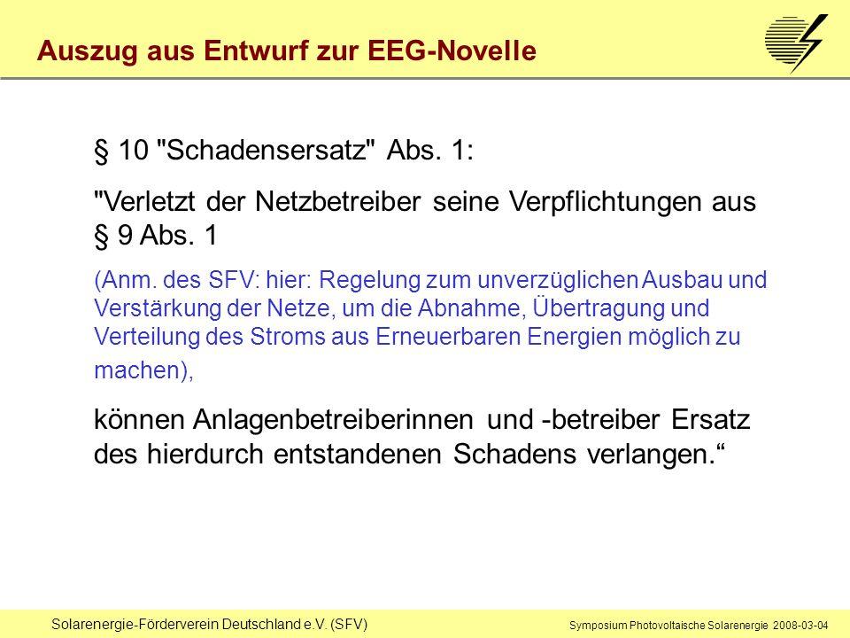 Solarenergie-Förderverein Deutschland e.V. (SFV) Symposium Photovoltaische Solarenergie 2008-03-04 § 10
