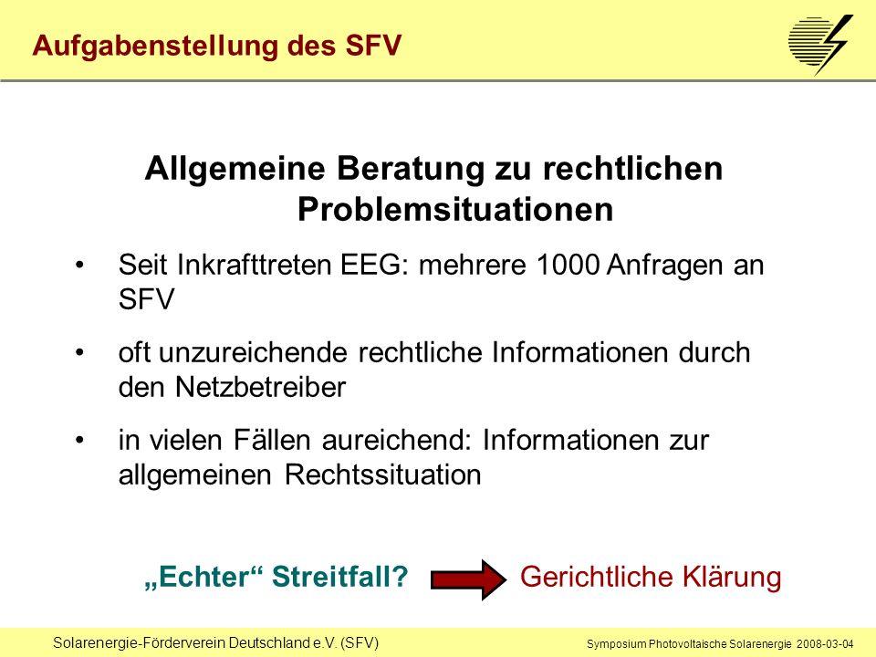 Solarenergie-Förderverein Deutschland e.V. (SFV) Symposium Photovoltaische Solarenergie 2008-03-04 Allgemeine Beratung zu rechtlichen Problemsituation