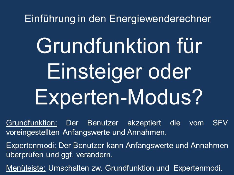 Einführung in den Energiewenderechner Grundfunktion für Einsteiger oder Experten-Modus.