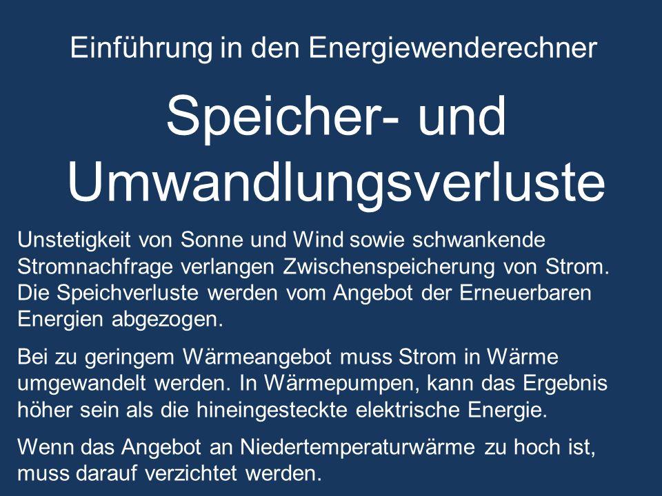 Einführung in den Energiewenderechner Speicher- und Umwandlungsverluste Unstetigkeit von Sonne und Wind sowie schwankende Stromnachfrage verlangen Zwischenspeicherung von Strom.