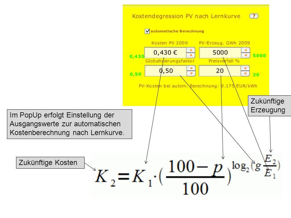 Im PopUp erfolgt Einstellung der Ausgangswerte zur automatischen Kostenberechnung nach Lernkurve.