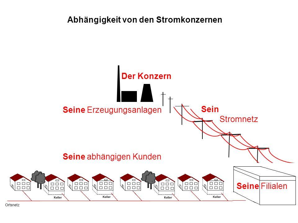 Der Konzern Sein Stromnetz Seine Erzeugungsanlagen Seine abhängigen Kunden Seine Filialen Abhängigkeit von den Stromkonzernen