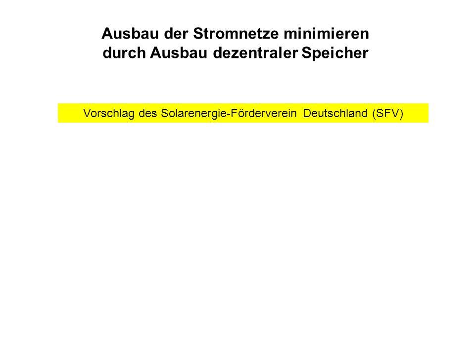 Ausbau der Stromnetze minimieren durch Ausbau dezentraler Speicher Vorschlag des Solarenergie-Förderverein Deutschland (SFV)