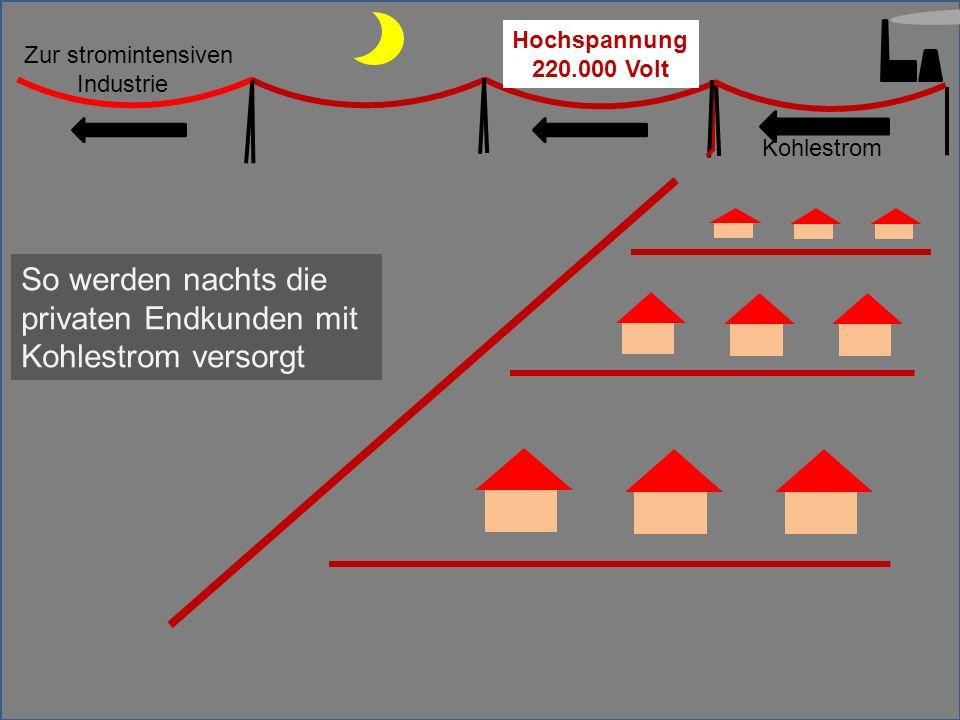 Kohlestrom Zur stromintensiven Industrie So werden nachts die privaten Endkunden mit Kohlestrom versorgt Hochspannung 220.000 Volt
