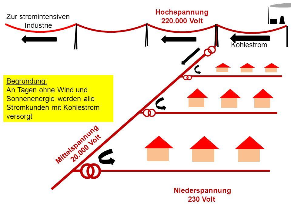 Mittelspannung 20.000 Volt Hochspannung 220.000 Volt Kohlestrom Begründung: An Tagen ohne Wind und Sonnenenergie werden alle Stromkunden mit Kohlestro