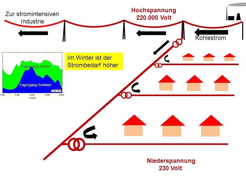 Hochspannung 220.000 Volt Kohlestrom Niederspannung 230 Volt Zur stromintensiven Industrie Im Winter ist der Strombedarf höher Tagesgang Winter Tagesg