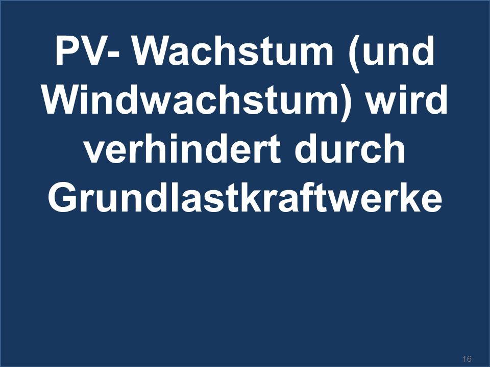 16 PV- Wachstum (und Windwachstum) wird verhindert durch Grundlastkraftwerke