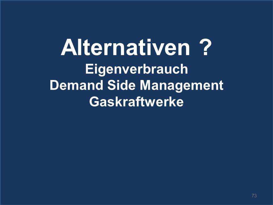 73 Alternativen ? Eigenverbrauch Demand Side Management Gaskraftwerke