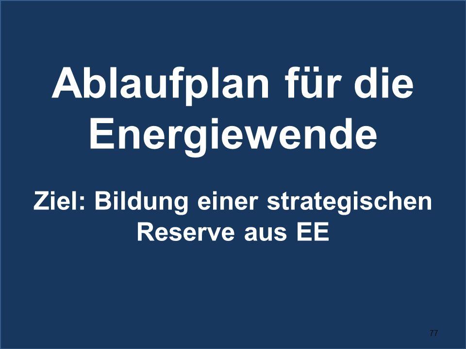 77 Ablaufplan für die Energiewende Ziel: Bildung einer strategischen Reserve aus EE