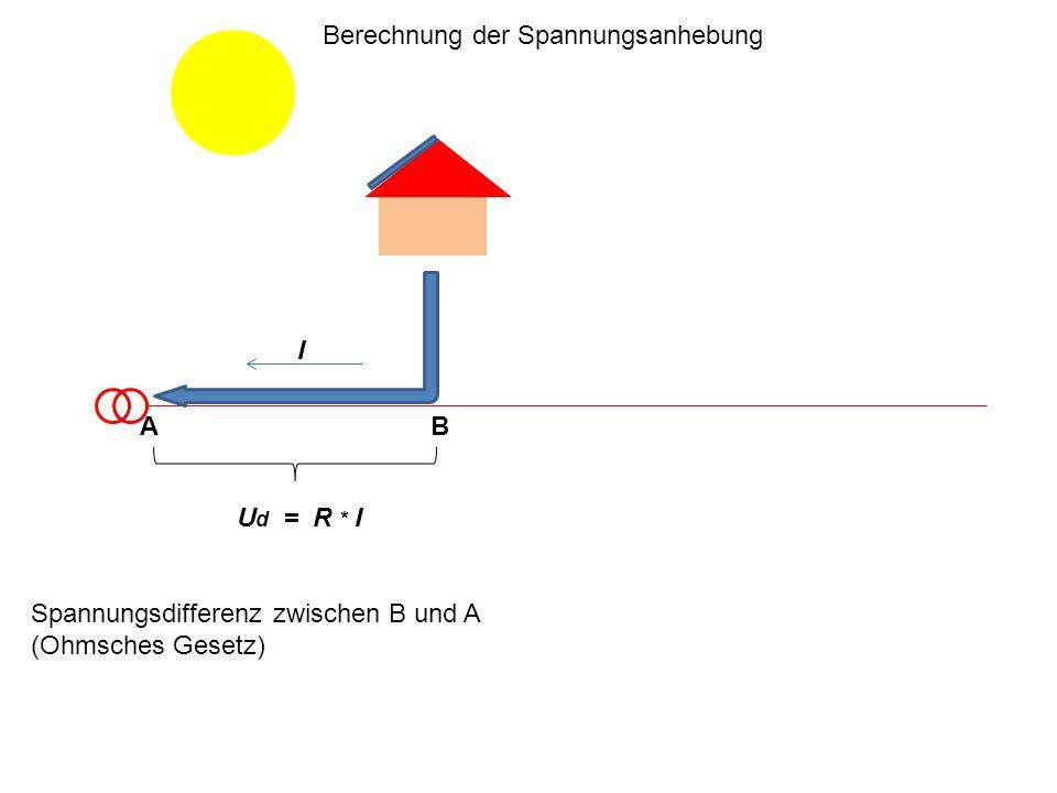 U d = R * I Spannungsdifferenz zwischen B und A (Ohmsches Gesetz) I Berechnung der Spannungsanhebung AB