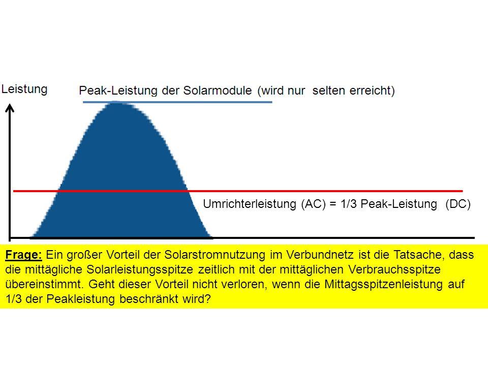 Umrichterleistung (AC) = 1/3 Peak-Leistung (DC) Frage: Ein großer Vorteil der Solarstromnutzung im Verbundnetz ist die Tatsache, dass die mittägliche