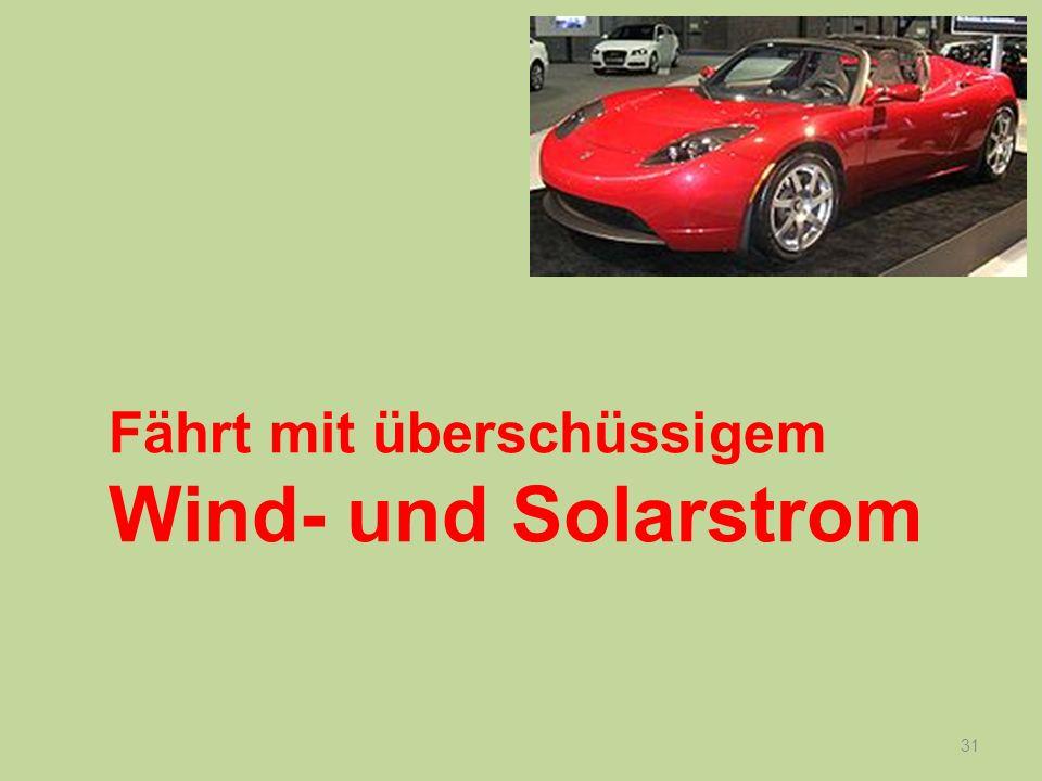 31 Fährt mit überschüssigem Wind- und Solarstrom