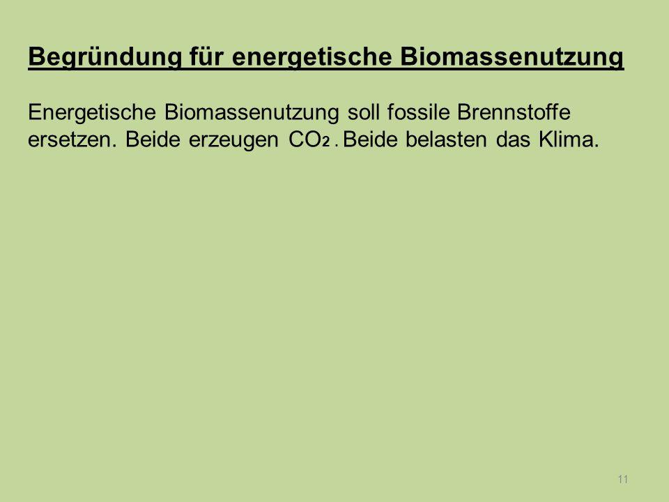 11 Begründung für energetische Biomassenutzung Energetische Biomassenutzung soll fossile Brennstoffe ersetzen. Beide erzeugen CO 2. Beide belasten das