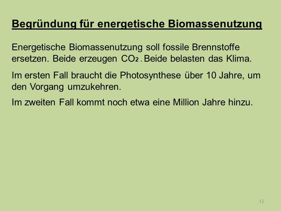 12 Begründung für energetische Biomassenutzung Energetische Biomassenutzung soll fossile Brennstoffe ersetzen. Beide erzeugen CO 2. Beide belasten das