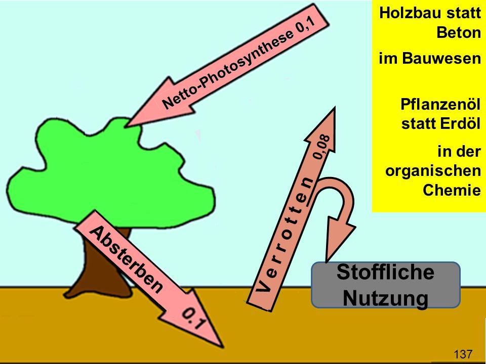 Stoffliche Nutzung V e r r o t t e n 0,08 Holzbau statt Beton im Bauwesen Pflanzenöl statt Erdöl in der organischen Chemie 137
