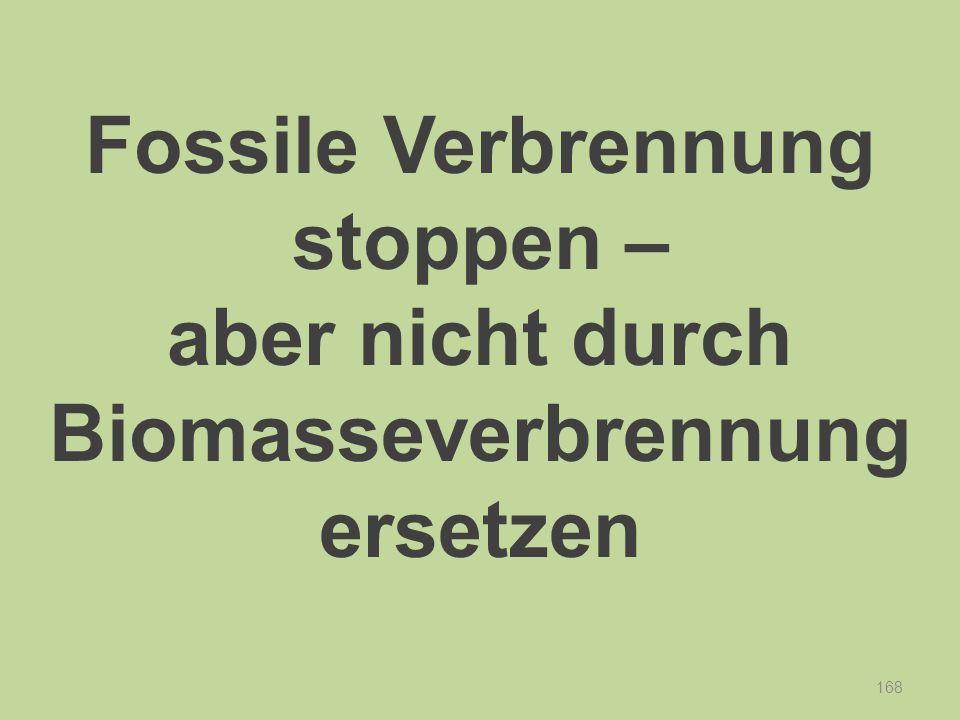 168 Fossile Verbrennung stoppen – aber nicht durch Biomasseverbrennung ersetzen