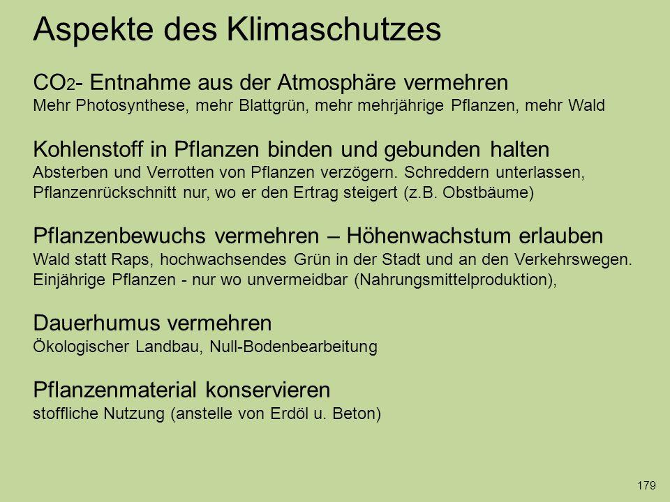 Aspekte des Klimaschutzes CO 2 - Entnahme aus der Atmosphäre vermehren Mehr Photosynthese, mehr Blattgrün, mehr mehrjährige Pflanzen, mehr Wald Kohlen