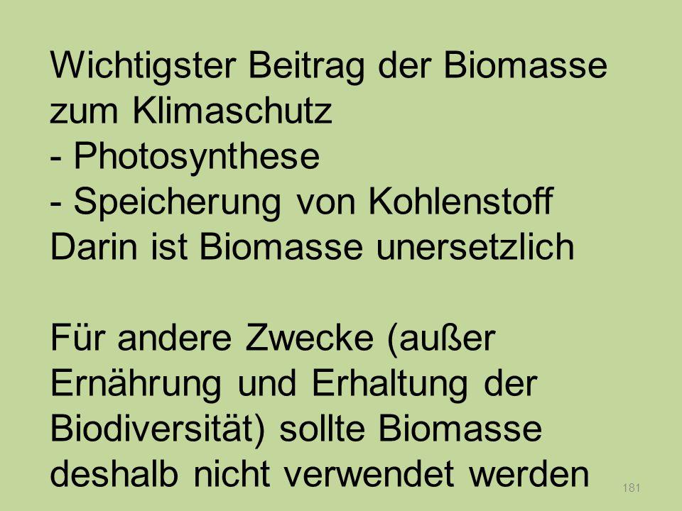 181 Wichtigster Beitrag der Biomasse zum Klimaschutz - Photosynthese - Speicherung von Kohlenstoff Darin ist Biomasse unersetzlich Für andere Zwecke (