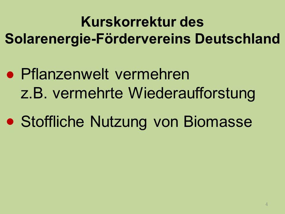 4 Kurskorrektur des Solarenergie-Fördervereins Deutschland Pflanzenwelt vermehren z.B. vermehrte Wiederaufforstung Stoffliche Nutzung von Biomasse