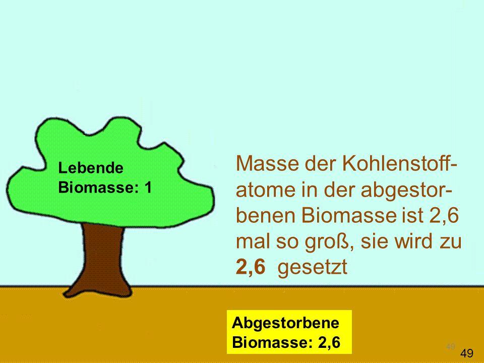 49 Lebende Biomasse: 1 Abgestorbene Biomasse: 2,6 Masse der Kohlenstoff- atome in der abgestor- benen Biomasse ist 2,6 mal so groß, sie wird zu 2,6 ge
