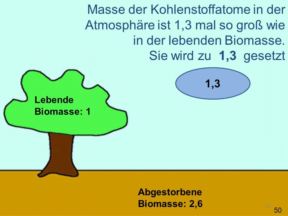 50 Lebende Biomasse: 1 Abgestorbene Biomasse: 2,6 Masse der Kohlenstoffatome in der Atmosphäre ist 1,3 mal so groß wie in der lebenden Biomasse. Sie w