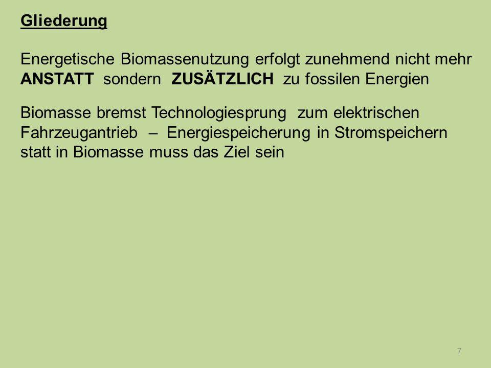 8 Originäre Aufgabe der Biomasse – CO 2 -Rückholung Herleitung von Beurteilungskriterien – Zielkatalog Gliederung Energetische Biomassenutzung erfolgt zunehmend nicht mehr ANSTATT sondern ZUSÄTZLICH zu fossilen Energien Biomasse bremst Technologiesprung zum elektrischen Fahrzeugantrieb – Energiespeicherung in Stromspeichern statt in Biomasse muss das Ziel sein