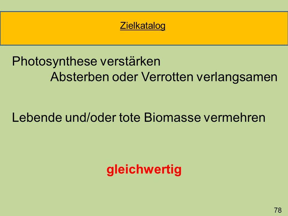 Photosynthese verstärken Absterben oder Verrotten verlangsamen 78 Lebende und/oder tote Biomasse vermehren gleichwertig Zielkatalog