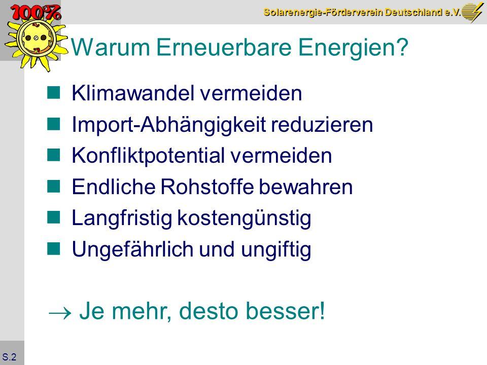 Solarenergie-Förderverein Deutschland e.V. S.2 Warum Erneuerbare Energien.