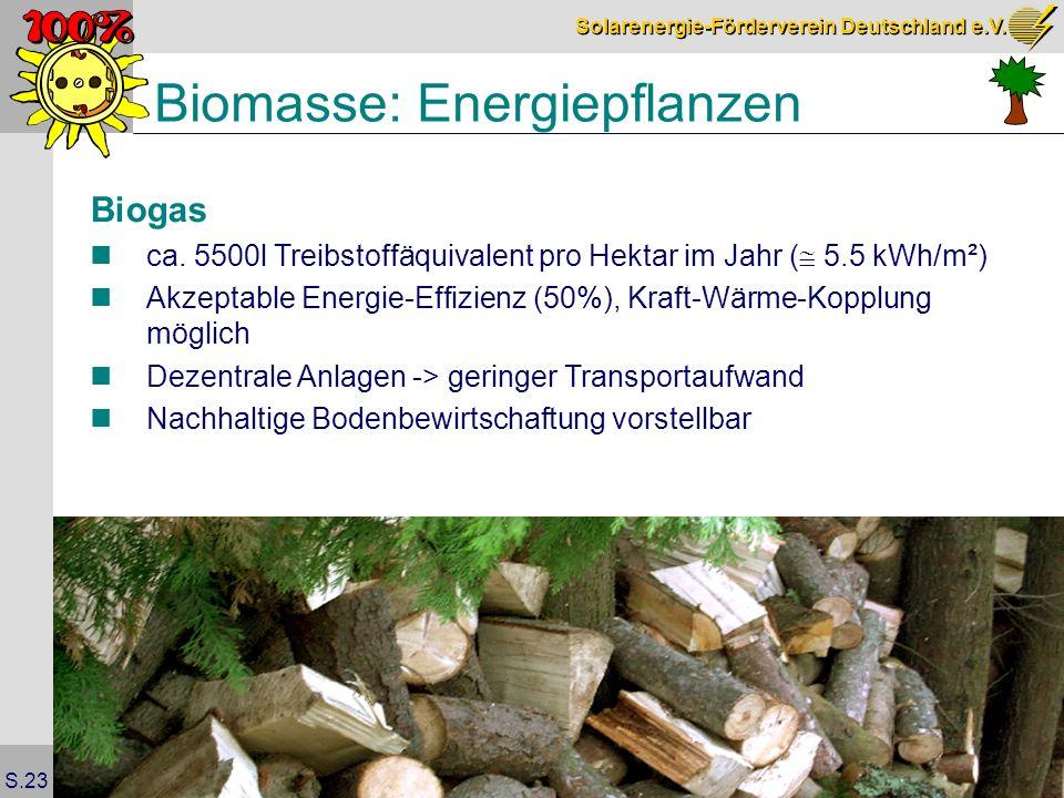 Solarenergie-Förderverein Deutschland e.V. S.23 Biomasse: Energiepflanzen Biogas ca.