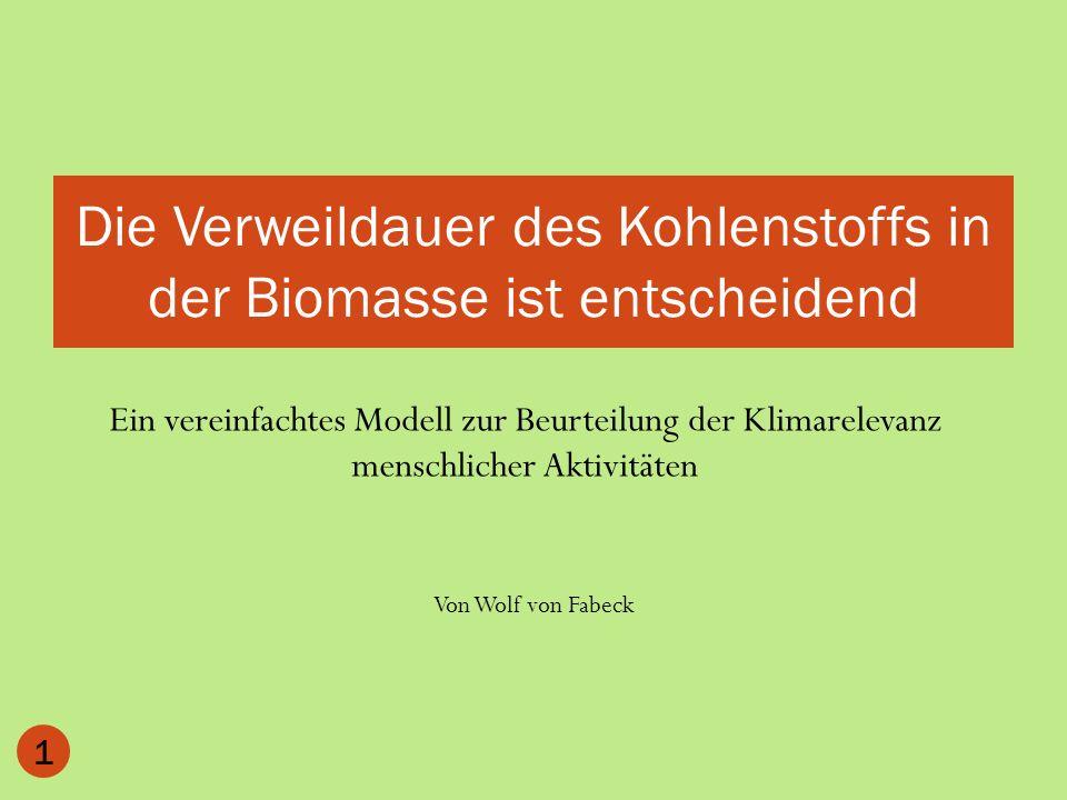 Ein vereinfachtes Modell zur Beurteilung der Klimarelevanz menschlicher Aktivitäten 1 Die Verweildauer des Kohlenstoffs in der Biomasse ist entscheide