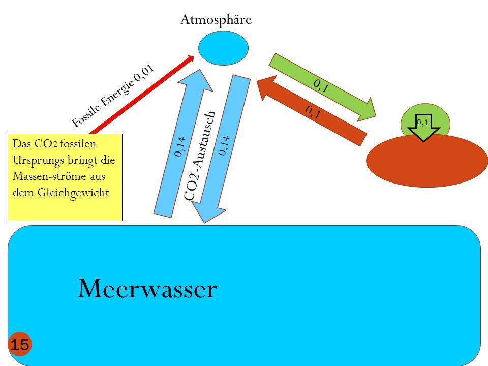 Atmosphäre Meerwasser 0,1 0,14 CO2-Austausch 15 Das CO 2 fossilen Ursprungs bringt die Massen-ströme aus dem Gleichgewicht 0,1 Fossile Energie 0,01