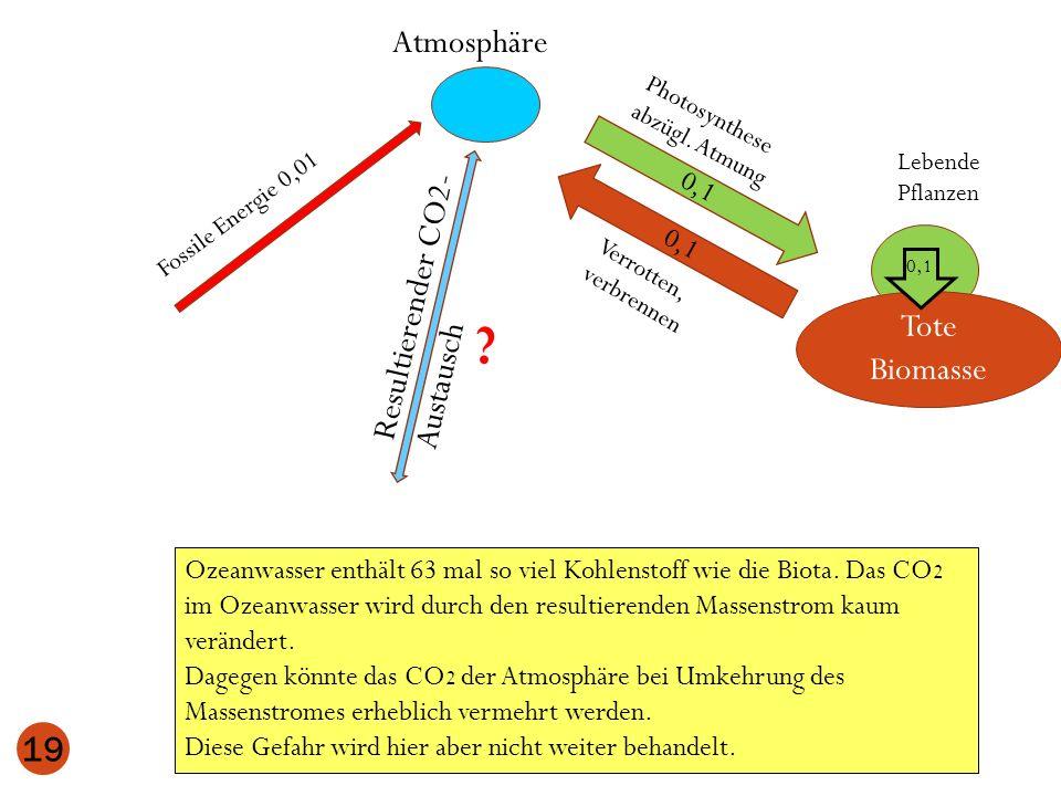 Atmosphäre Lebende Pflanzen 0,1 Tote Biomasse 0,1 19 Photosynthese abzügl. Atmung Verrotten, verbrennen 0,1 Ozeanwasser enthält 63 mal so viel Kohlens