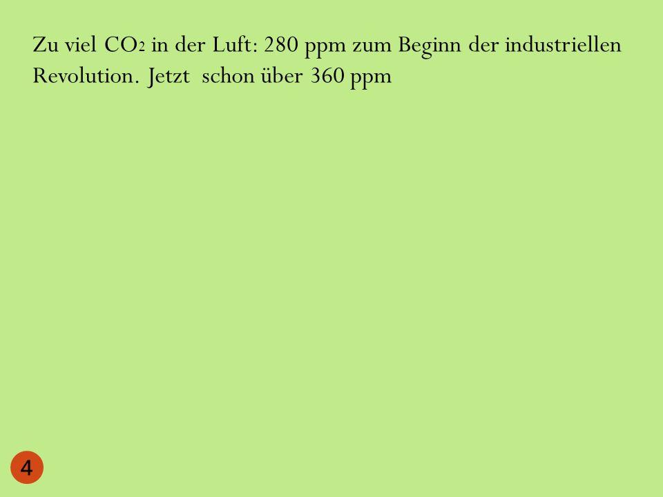 Zu viel CO 2 in der Luft: 280 ppm zum Beginn der industriellen Revolution. Jetzt schon über 360 ppm 4