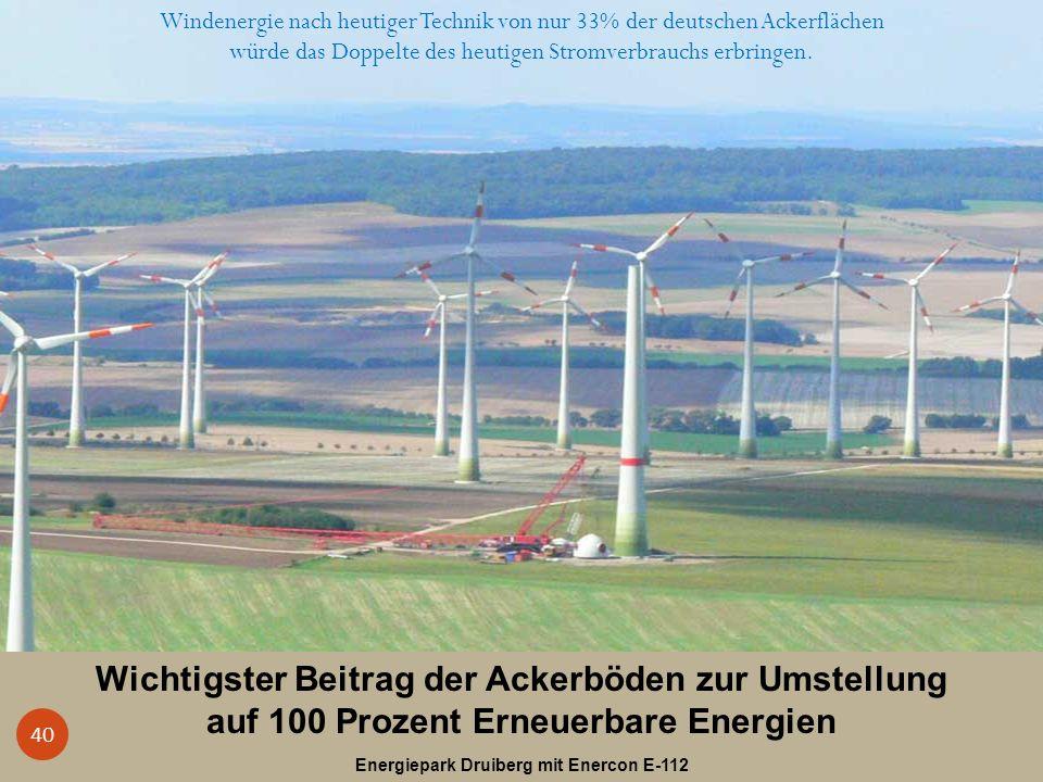 Wichtigster Beitrag der Ackerböden zur Umstellung auf 100 Prozent Erneuerbare Energien Energiepark Druiberg mit Enercon E-112 40 Windenergie nach heut