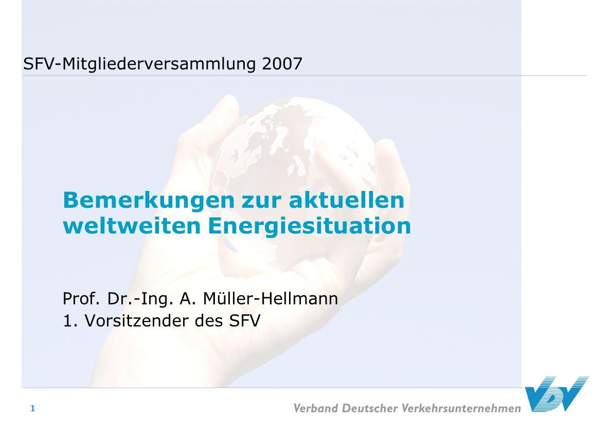 1 Bemerkungen zur aktuellen weltweiten Energiesituation Prof. Dr.-Ing. A. Müller-Hellmann 1. Vorsitzender des SFV SFV-Mitgliederversammlung 2007